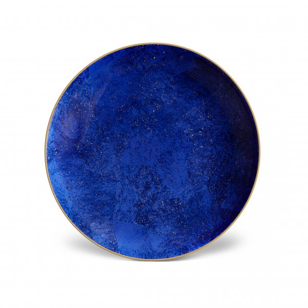 Lapis Round Platter with Hand-Gilded 24K Gold