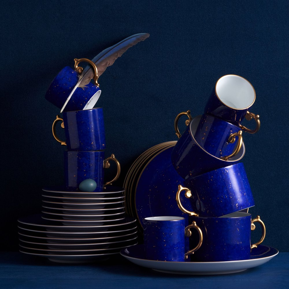 Lapis and Gold Espresso Cup + Saucer