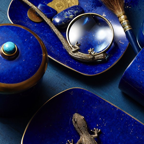 St. James Lapis Pencil Cup with Hand-Gilded 24K Gold