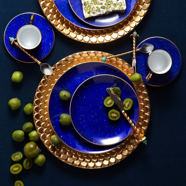 St. James Lapis Round Platter with Hand-Gilded 24K Gold