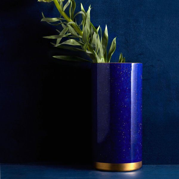 St. James Lapis Vase with Hand-Gilded 24K Gold