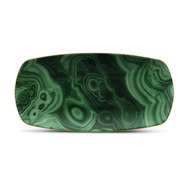 Malachite Medium Rectangular Tray with Hand-Gilded 24K Gold