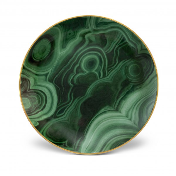 Malachite and Gold Canape Plates, Set of 4