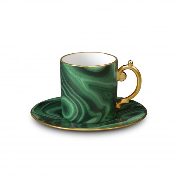 Malachite and Gold Espresso Cup + Saucer