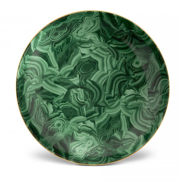 Malachite Round Platter with Hand-Gilded 24K Gold