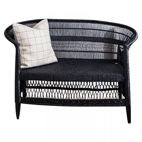 Black Bamboo and Rattan Loveseat