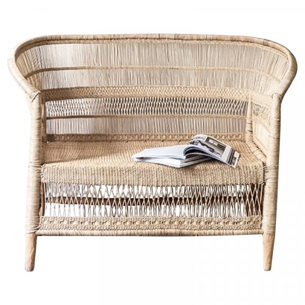Natural Bamboo and Rattan Loveseat