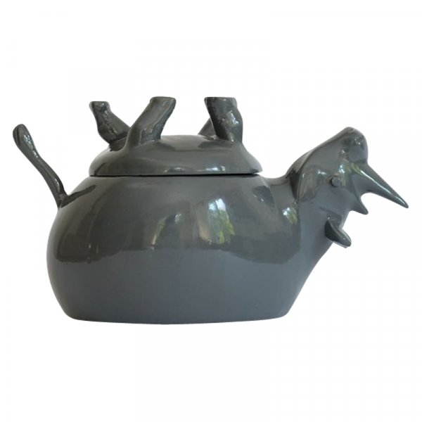 Grey Sleeping Rhino Salt and Pepper Pot