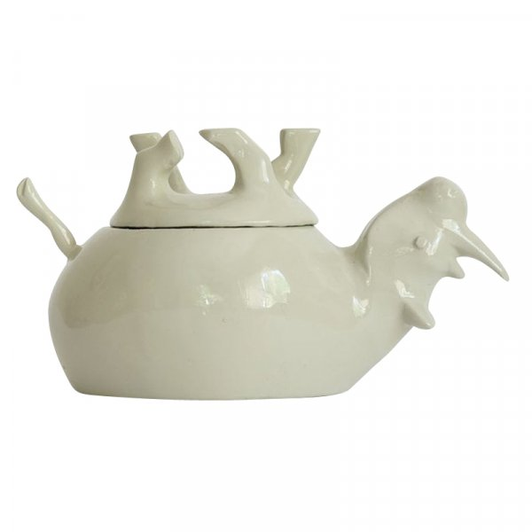 White Sleeping Rhino Salt and Pepper Pot