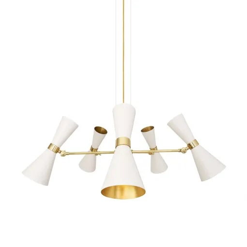 Cairo Five-Arm Contemporary Chandelier-Powder Coated White & Polished Brass