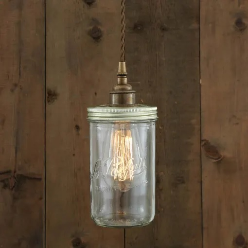 Jam Jar Pendant Light-Antique Brass