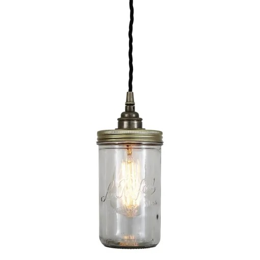 Jam Jar Pendant Light-Antique Silver