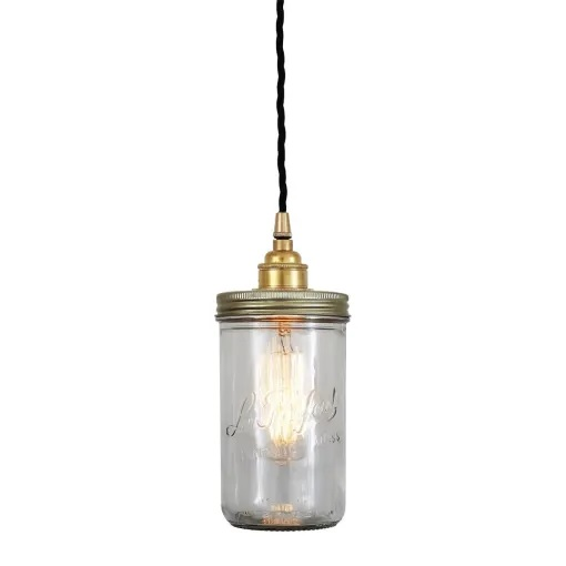 Jam Jar Pendant Light-Satin Silver