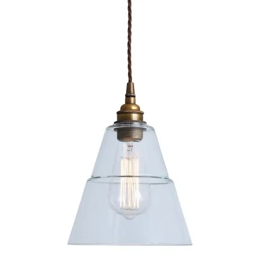 Lyx Clear Glass Pendant Light-Brass