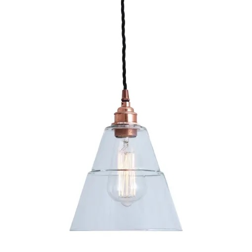 Lyx Clear Glass Pendant Light-Copper