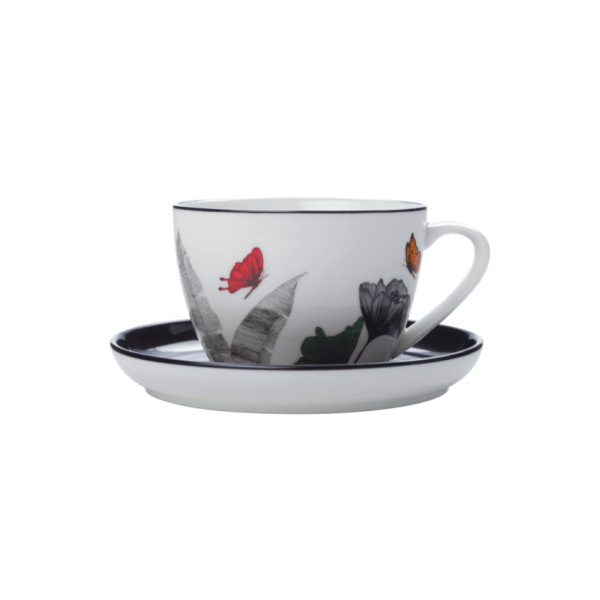 Sanctuary Tea Cup With Saucer 330ml, Set of 4