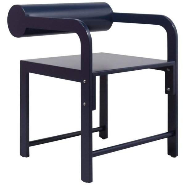 Indigo Blue Cylinder Black Arm Chair