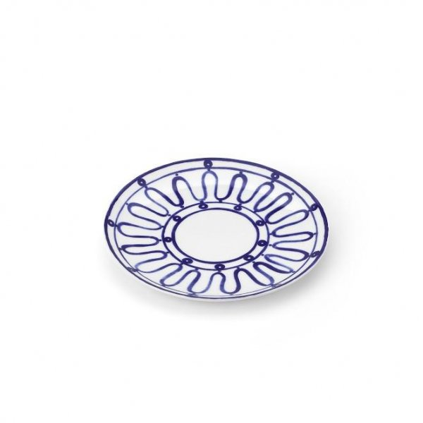 Kyma Blue on White Dessert Plate