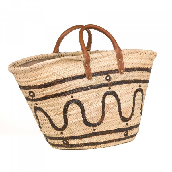 Kyma Brown Basket with Leather Handles