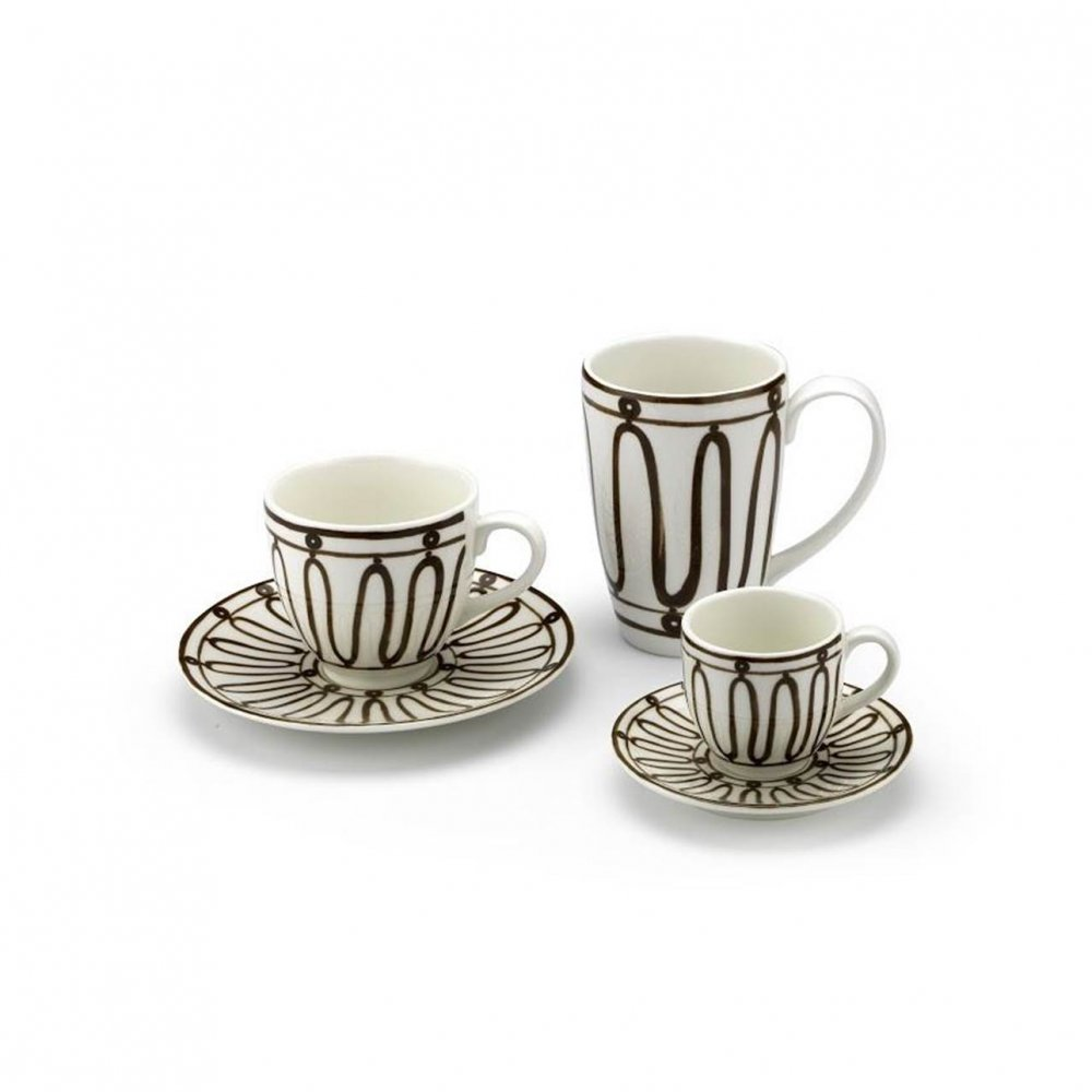 Kyma Chocolate Brown on White Espresso Cup