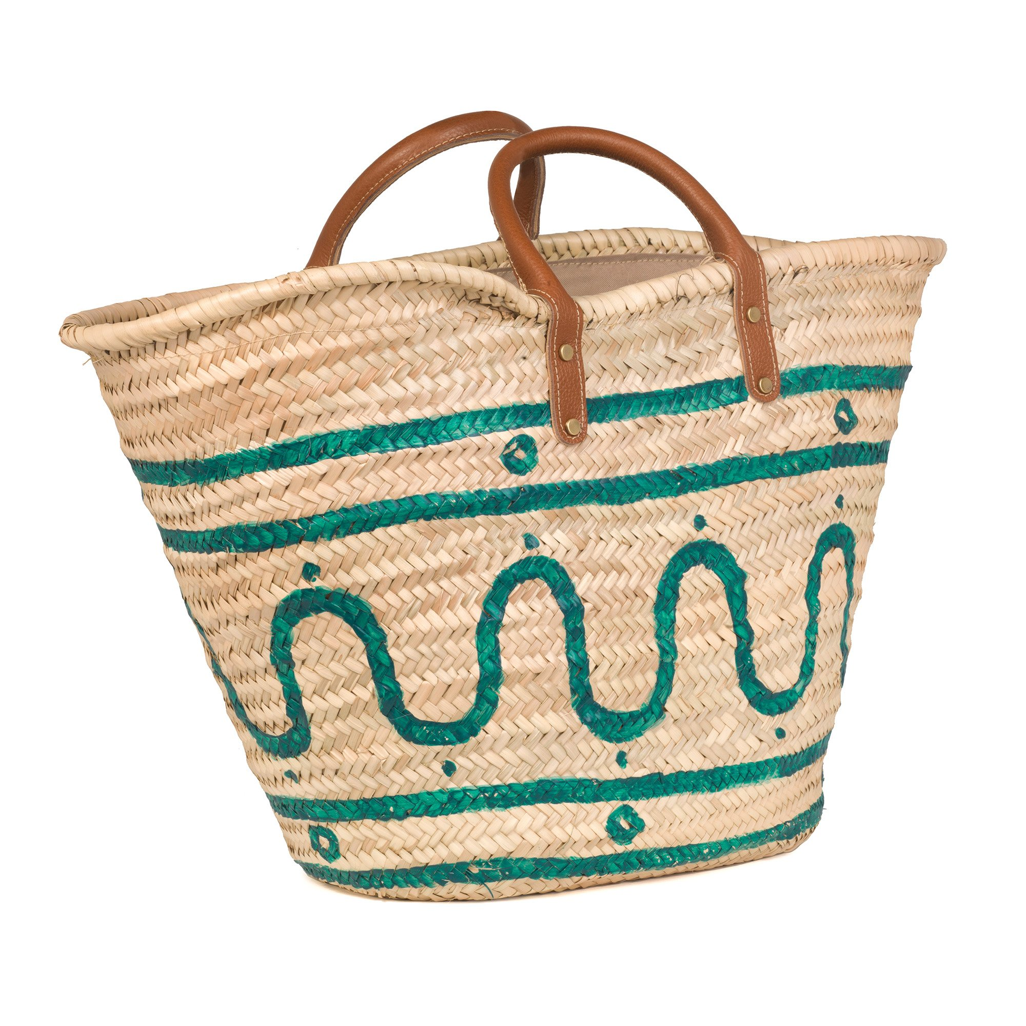 Kyma Green Basket with Leather Handles
