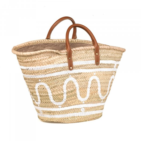 Kyma White Basket with Leather Handles