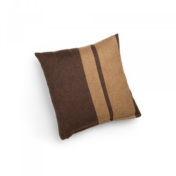 Linen Chocolate Brown and Camel Double Pillar Cushion