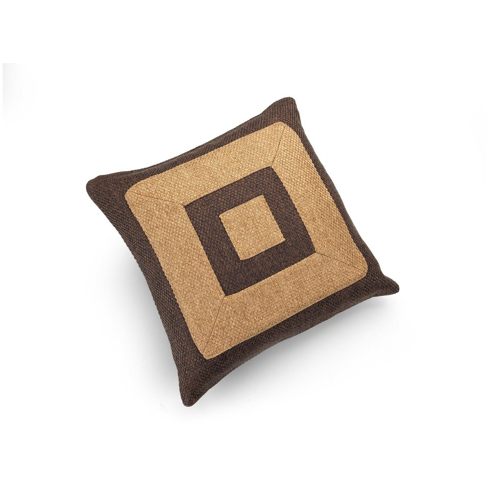 Linen Chocolate Brown and Camel Infinity Cushion