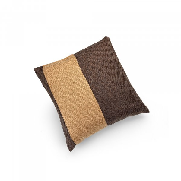 Linen Chocolate Brown and Camel Single Pillar Cushion