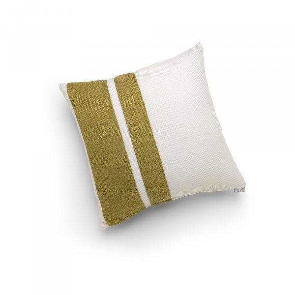 Linen White and Green Double Pillar Cushion