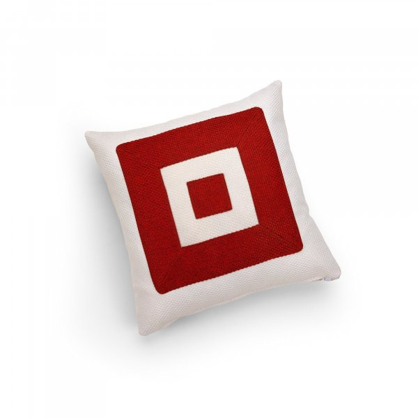 Linen White and Red Infinity Cushion