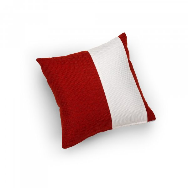 Linen White and Red Single Pillar Cushion