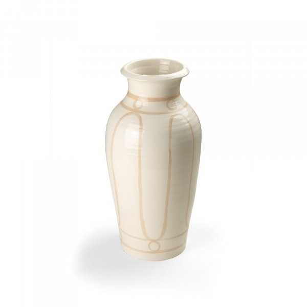 Serenity Beige on White Pottery Vase