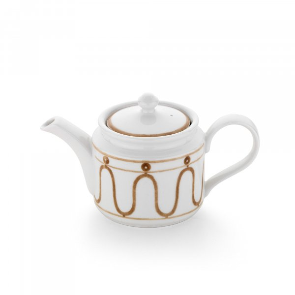 Serenity Beige on White Teapot