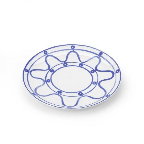 Serenity Blue on White Dinner Plate