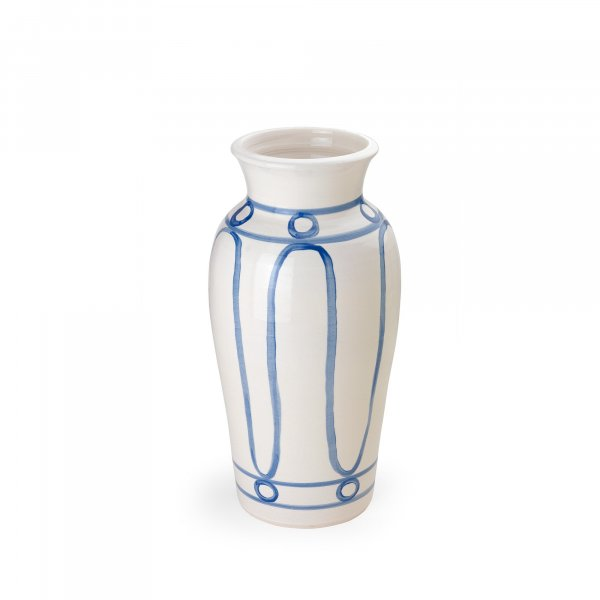 Serenity Blue on White Pottery Vase