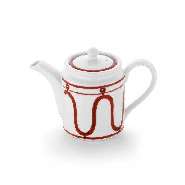 Serenity Burgundy on White Coffee Pot