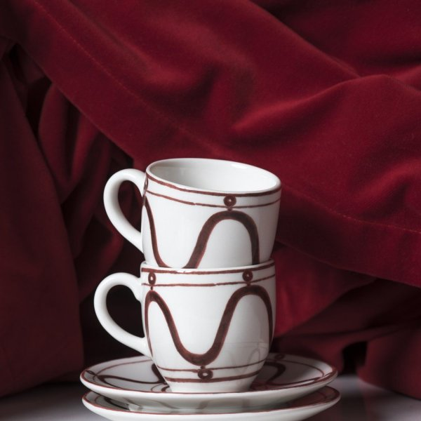 Serenity Burgundy on White Espresso for Two Cup