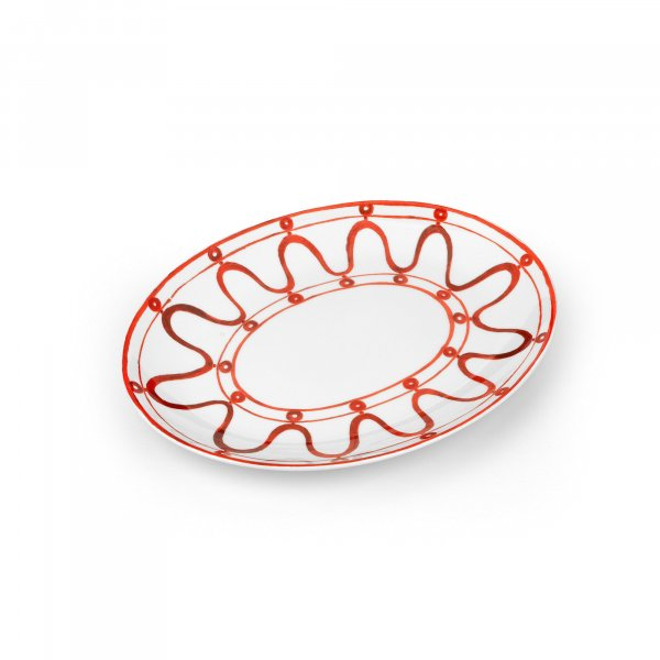 Serenity Burgundy on White Serving Platter