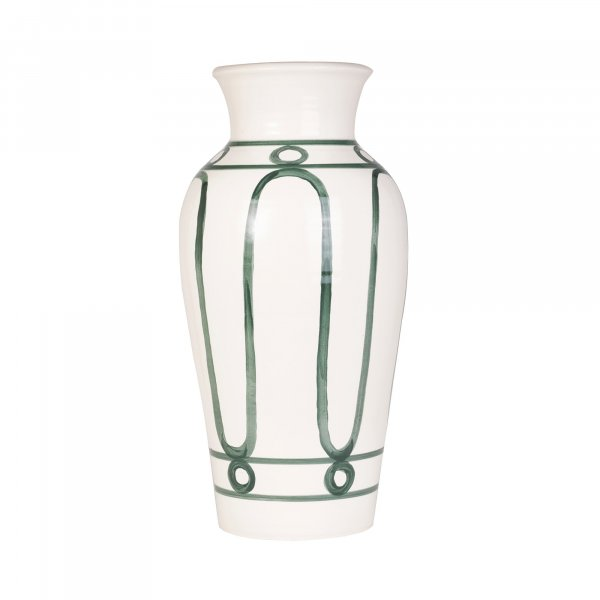 Serenity Green on White Pottery Vase