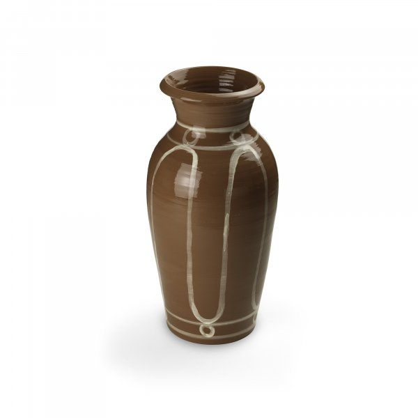 Serenity White on Brown Pottery Vase