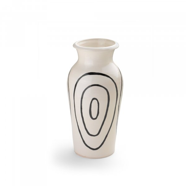 Kyklos Black on White Pottery Vase