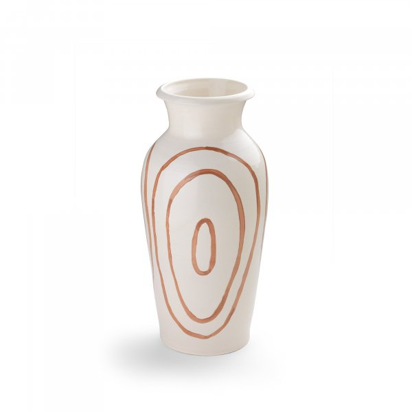 Kyklos Brown on White Pottery Vase