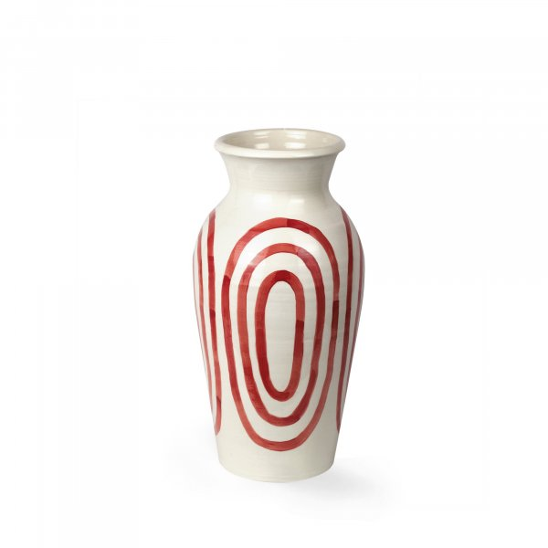 Kyklos Burgundy on White Pottery Vase