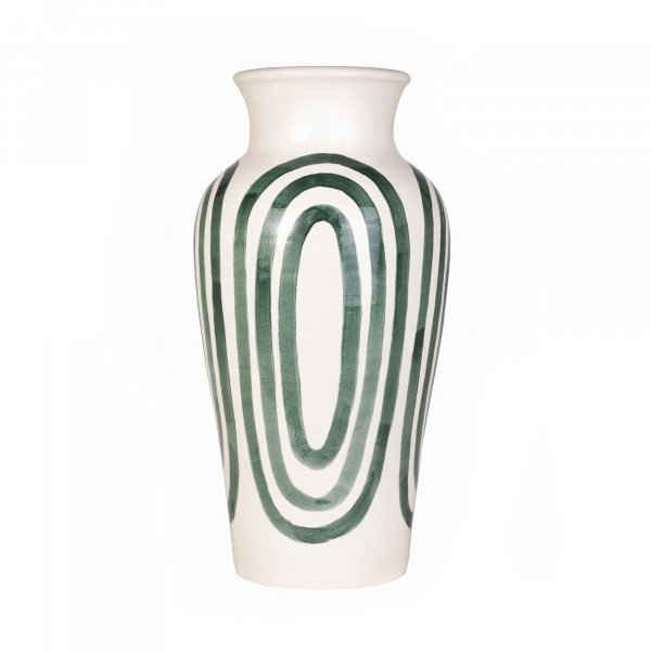 Kyklos Green on White Pottery Vase