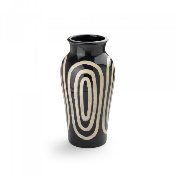 Kyklos White on Black Pottery Vase