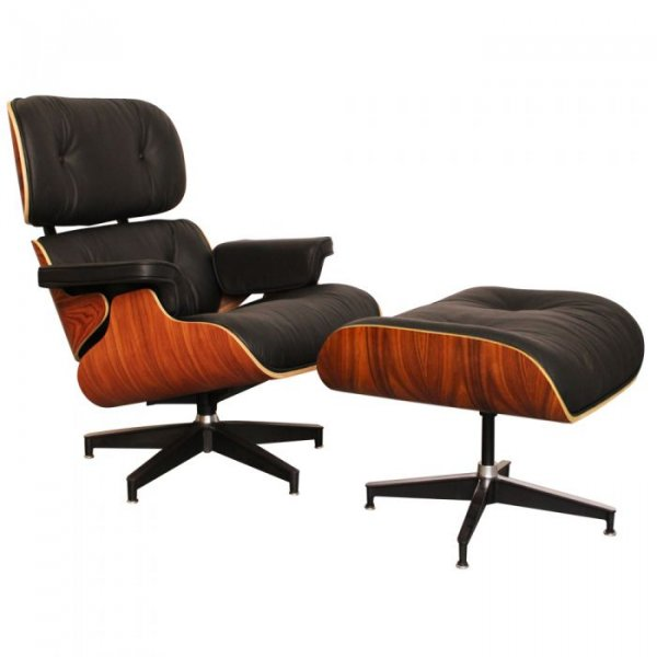 Lounge Chair and Ottoman in Rosewood Moulded Wood Veneers