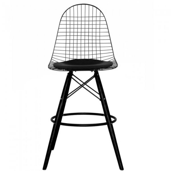 DKB Barstool Black Legs with Leather Cushion