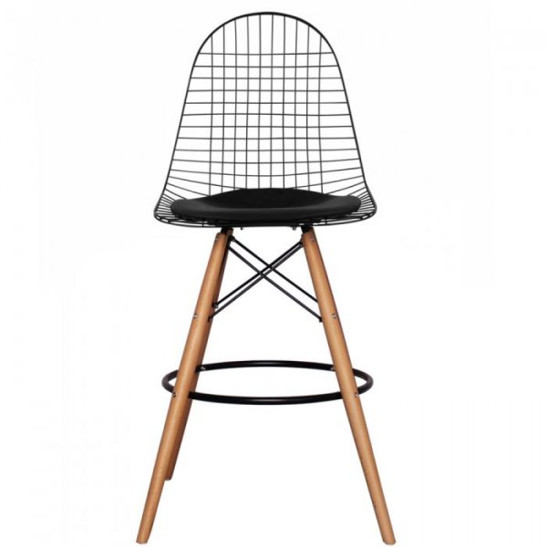 DKB Barstool Natural Legs with Leather Cushion