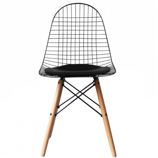 DKW Side Chair Natural Legs with Leather Cushion